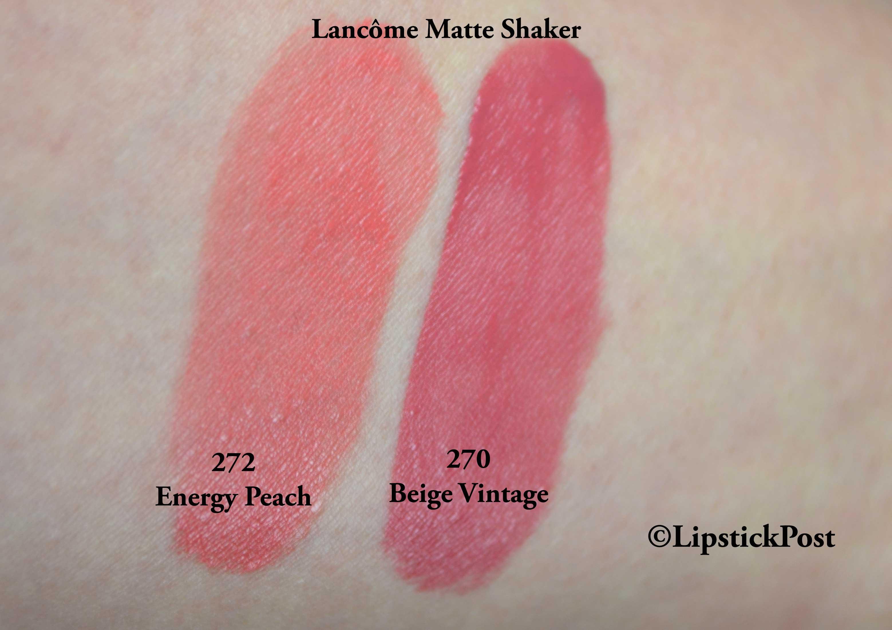 Swatches Lancome Matte Shaker Lipstickpost